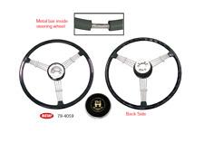 """EMPI 79-4059 Banjo Style Black 3 Spoke Steering Wheel, 15.5"""" Diameter"""