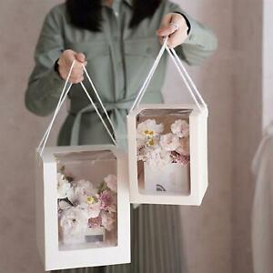 Square Gift Paper Packing Boxes Clear Window with Handle Flower Bags Favors