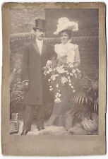 CABINET CARD Photograph Victorian Wedding Bride & Groom by Ellis of Hanley