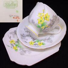 Shelley 1930s Ideal China 0156 Yellow English Vintage Bone China Trio Set RARE
