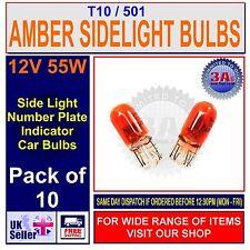10 x 501 AMBER CAPLESS / PUSH IN / WEDGE CAR TAIL / SIDE LIGHT BULB 12v 5w T10