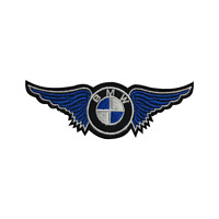 BMW WING Motorcar Brand Logo Embroidered Patch Iron on Sew On Badge For Clothes