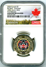 2020 $2 CANADA NGC GEM UNC COLOR TOONIE BILL REID BEAR TWO DOLLAR FIRST RELEASES