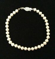 """925 Silver 5-5.5 mm Hand Knotted White Pearl Bracelet Choice 7"""" 7.5""""  8"""" 8..5"""""""