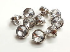 Db9 10 X 12mm Clear Faceted Glass Crystal Diamante Rhinestone Silver Buttons