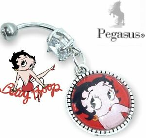 Sexy Red Betty Boop Cabochon Glass dangle belly navel bar ring