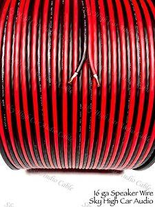 600 ' feet TRUE 16 Gauge AWG RED/BK Speaker Wire W/ ROLL Car Home Audio ft