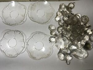Four Vintage Old French Chandelier Bobeches With Sparkling Crystals