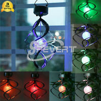Colorful Solar Garden Lawn Light Courtyard Hanging Spiral LED Wind Spinner Lamp