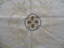 TOVAGLIA cotone damasco ricamato a mano ornamenti bordato 16x140 Beige cb809