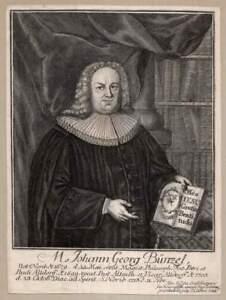 1724 Johann Georg Bunzel Theologe Nürnberg Altdorf Kupferstich-Porträt von Dehne