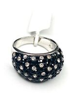 NWT Black Clear Pave Rhinestone Sterling Silver 925 Domed Ring  SZ 7