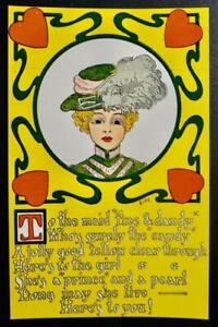 "Postcard Artist Signed Bishop - Pretty Woman - ""Fine & Dandy"""