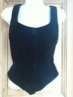 Gorgeous Black Velvet S Small (8/10) Waistcoat Bodice Basque Vest Collectif