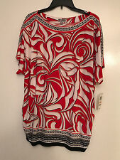 JM Collection Plus Size Top 2x Embellished Printed Tunic Rose Red