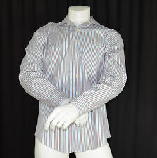 Brooks Brothers Shirt  Size Large Slim Fit Non Iron White Blue Brown Striped