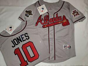 Majestic 1995 Atlanta Braves CHIPPER JONES World Series Baseball JERSEY Gray