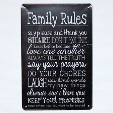 Metal Tin Sign  FAMILY RULES Decor Bar Pub Home Vintage Retro Poster Cafe