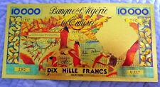 """★ ALGERIE ★ BILLET POLYMER  """" OR """" AVEC COULEURS DU 10000 FRANCS ANNEES 60 ★ R6"""