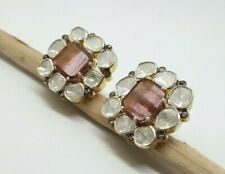 Natural Tourmaline and Polki Victorian 925 Silver Studs Earring Christmas Gift