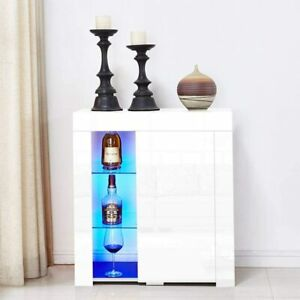 White Gloss Cabinet With Led Lights Sideboard With Glass Shelving Modern