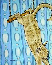 GREY CAT TRAPEZE painting ANIMAL   ART    folk pop ART     8.5x11 glossy photo p