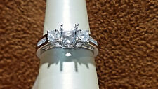 14K White Gold Engagement Ring Semi-Mount with 0.80ct.Round Diamonds.size 6.5