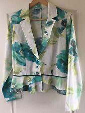 """Steilmann"" Womens 100% Linen Jacket, Size 12, White/Green, Immaculate Condition"