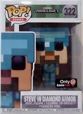 "STEVE IN DIAMOND ARMOR Minecraft Pop Games 4"" Vinyl Figure #322 Game Stop 2017"