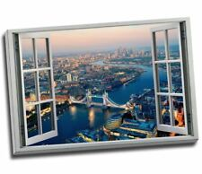 Classic London Aerial View 3D Window Effect Canvas Print Large 30x20""