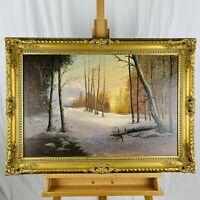 Vintage Large Winter Landscape Oil on Canvas in Ornate Gilt Wood Frame