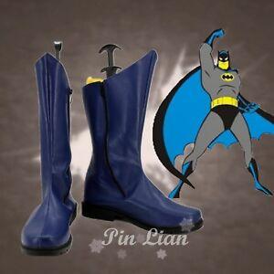 Batman 1966 Movie Bruce Wayne Blue Boots Shoes DC Super Hero Cosplay Costume