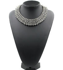 Stunning Silver Royal Statement Crystal Collar Fashion Necklace Jewellery