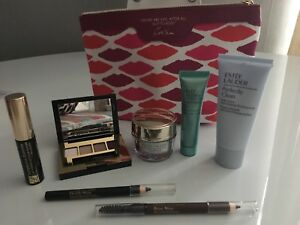 Estee Lauder Gift SET 7-Items+Cosmetic LIPS Makeup bag Pouch BN