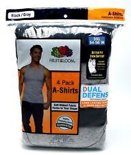 4 Black Gray 3XL 54-56 Inch A-Shirt Tank Fruit Of The Loom 3EG 137-142 CM