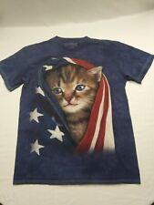 The Mountain 3D Tee Cat & Flag Patriotic Mens Medium Shirt U.S.A Kitten