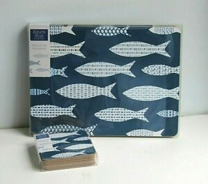 6 Placemats & 6 Coasters Set  Navy Blue & White Fish Design