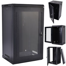 15U Wall Mount Network Server Data Cabinet Enclosure Rack Glass Door Lock w/ Fan