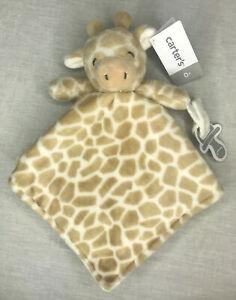 Carters Giraffe Lovey Pacifier Holder Plush Security Blanket Tan & White NWT