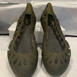 Crocs Gray Slip On Ballet Style Jelly Shoes Size 8