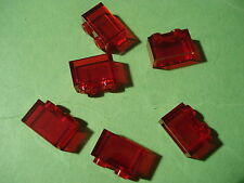 Lego - 6 piedras piedra 2x1/1x2 transparente rojo (02020) - nuevo