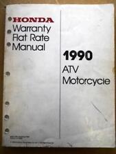 Honda Warranty Flat Rate Manual Motorcycle Atv 1990