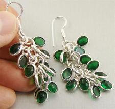 GREEN ONYX & 925 Sterling Silver Hook Drop Dangle Earrings 62mm - 91s