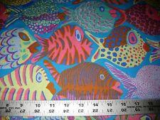 1/4 Yard Kaffe Fassett Purple Yellow Pink Shoal Fish Fabric Quilting 100% Cotton