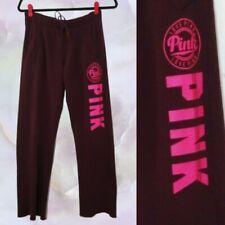 VS Pink XS Burgundy Straight Leg Sweatpants Drawstring Waist PINK Spellout