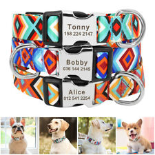 Nylon Personalized Dog Collars Custom with ID Nameplate for Small Large Dogs S-L