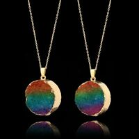 Druzy Quartz Necklace Natural Stone Rainbow Crystal Pendant Gold Plated Chain