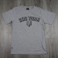 Hombre Vintage Deadstock Zoo York explicar impresión camiseta cuello redondo gris nuevo colegio M