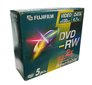 Fujifilm DVD-RW Blank DVDs - 4.7GB - Upto 2x Speed - Jewel Case - 5 Pack