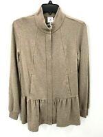 Cabi Womens XS Weekend Topper Jacket Beige Tan Long Sleeve Full Zip Peplum